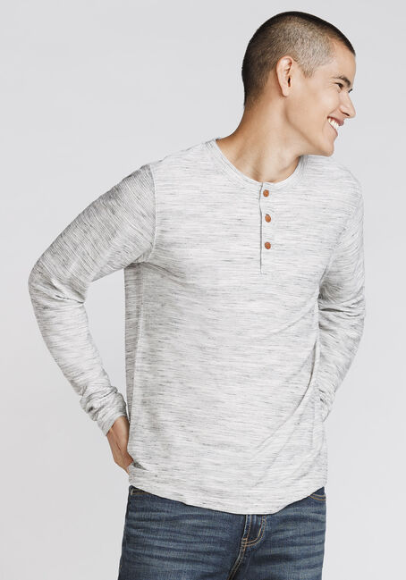 Men's Henley Rib Knit Sweater, HEATHER GREY, hi-res