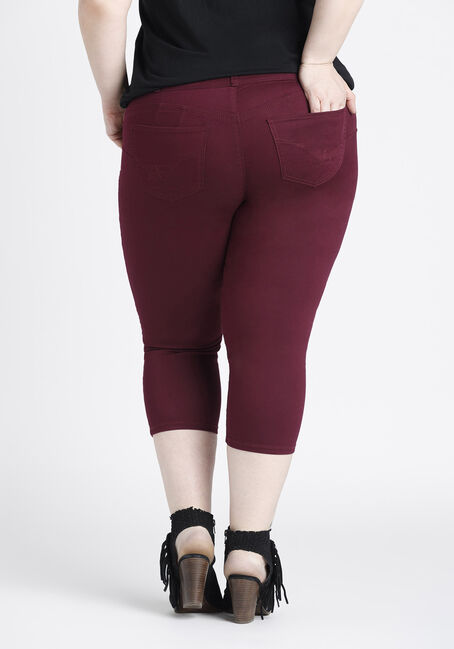 Ladies' Plus Size Skinny Capri, BURGUNDY, hi-res