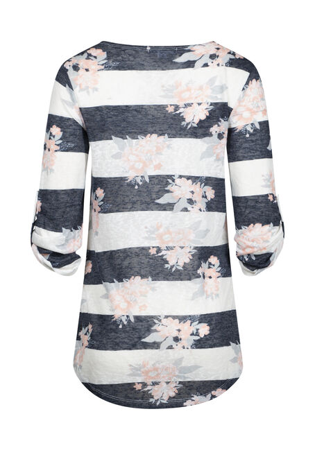 Women's Floral Stripe Tunic Top, WHITE, hi-res