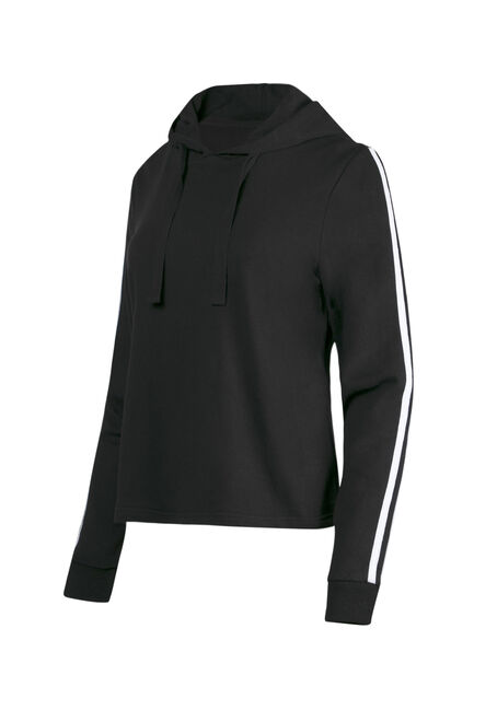 Women's Striped Sleeve Hoodie, BLACK, hi-res