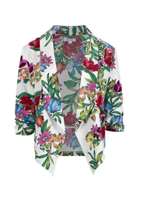 Women's Floral Cropped Blazer