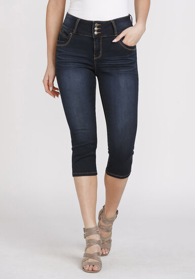 Women's 3-Button Dark Wash Capri, DARK WASH, hi-res