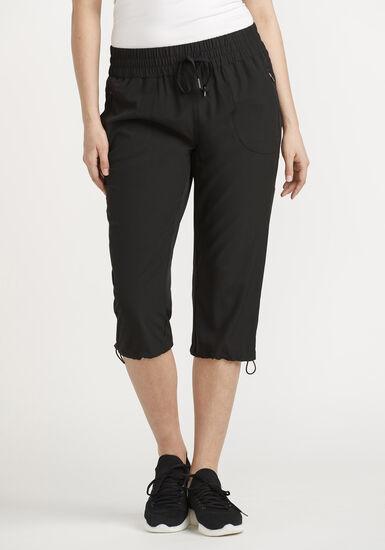 Women's Hybrid Capri, BLACK, hi-res