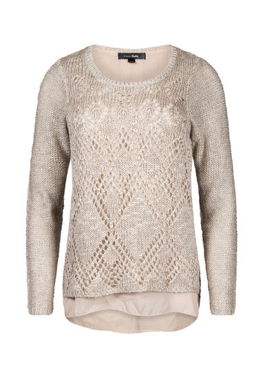 Women's Chiffon Back Shimmer Sweater, GOLD, hi-res