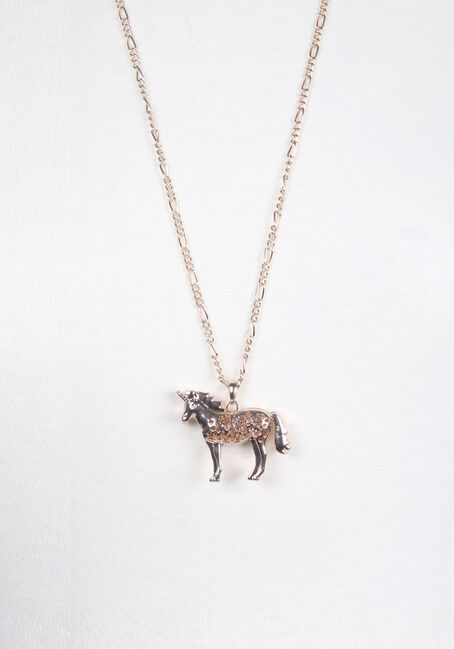 Ladie's Unicorn Necklace, RHODIUM, hi-res