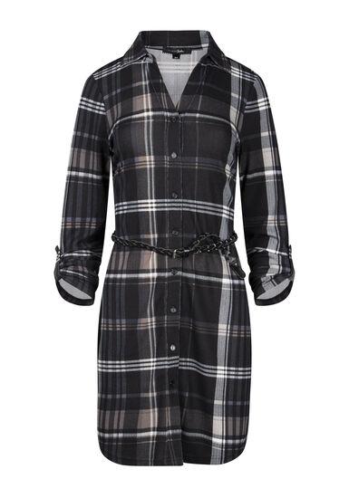 Women's Plaid Shirt Dress, BLACK, hi-res