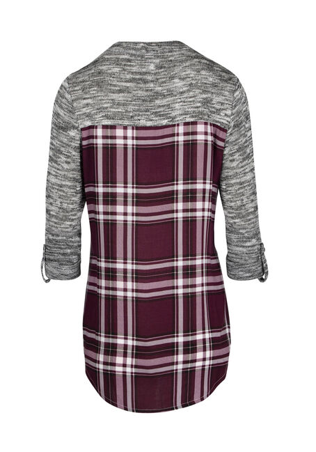 Ladies' Plaid Roll Sleeve Shirt, BURGUNDY, hi-res