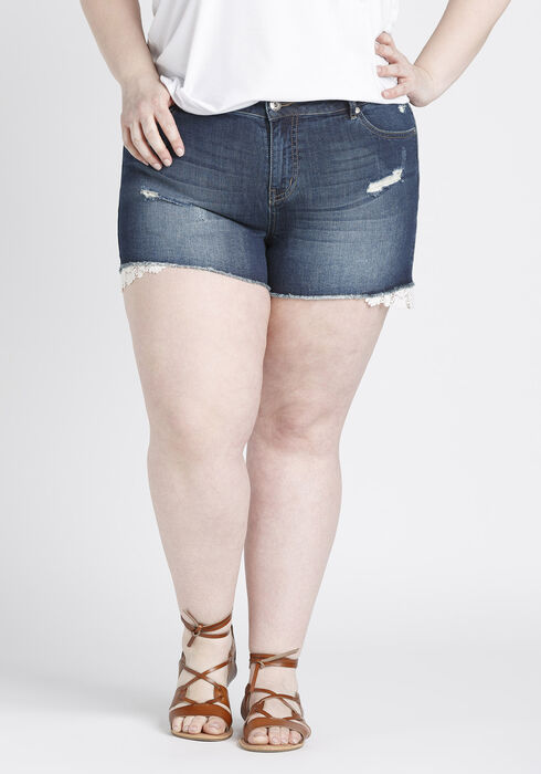 Ladies' Plus Size Not-So-Short Short, DARK WASH, hi-res
