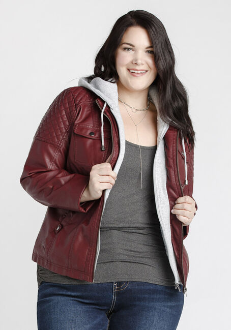 Women's Sherpa Lined Moto Jacket, BURGUNDY, hi-res