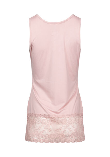 Women's Lace Trim Tunic Tank, DUSTY PINK, hi-res