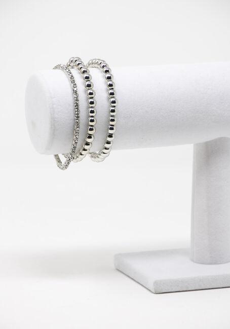 Multi Row Beaded Bracelet, SILVER, hi-res