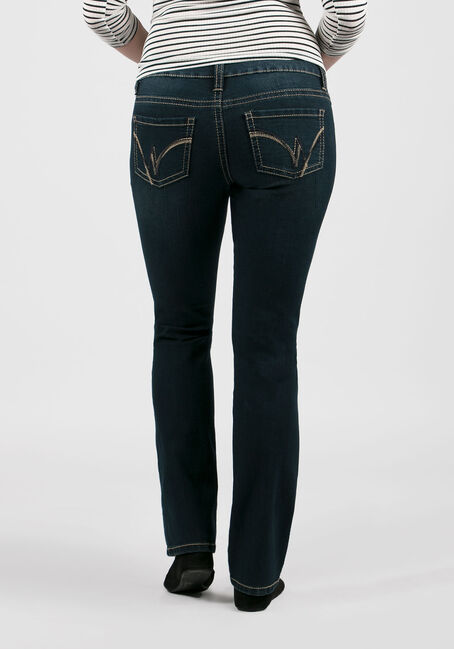 Ladies' Straight Leg Jeans, DARK WASH, hi-res