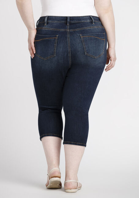 Women's Plus Size Dark Destroyed Skinny Capri, DARK WASH, hi-res