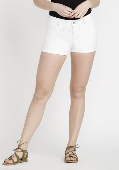 Women's Coloured Not-So-Short Short, WHITE, hi-res
