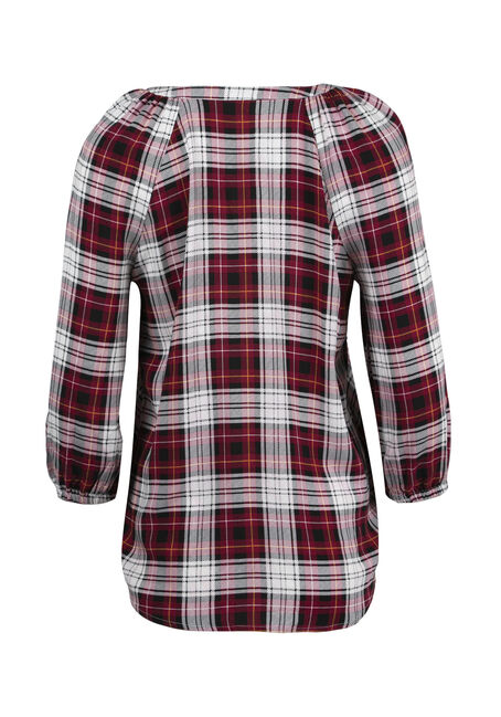 Women's Plaid Peasant Top, BURGUNDY, hi-res