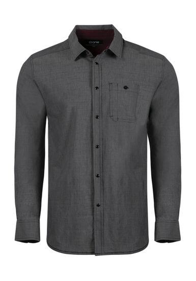 Men's Relaxed Chambray Shirt, CHARCOAL, hi-res
