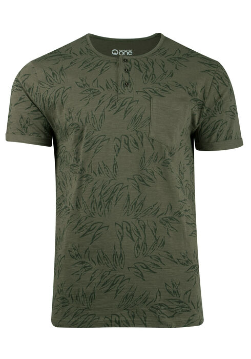 Men's Tropical Print Tee, LIGHT OLIVE, hi-res