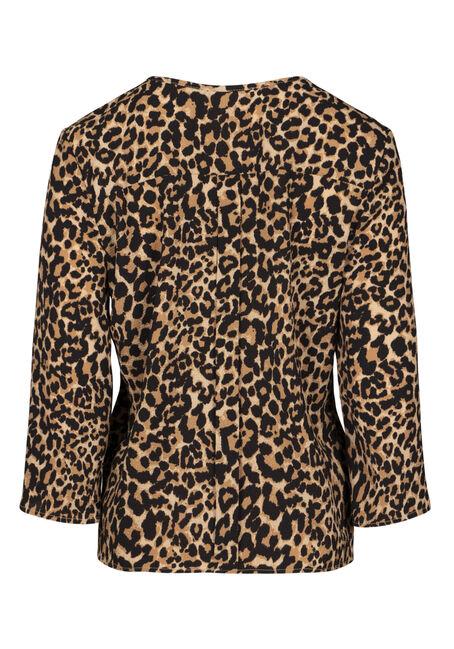 Women's Leopard Print Tie Front Blouse, TAUPE, hi-res