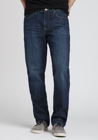 Men's Performance Relaxed Straight Jeans, DARK WASH, hi-res