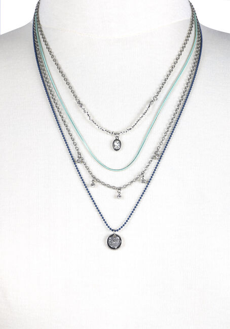 Women's Layered Painted Chains Necklace, RHODIUM, hi-res