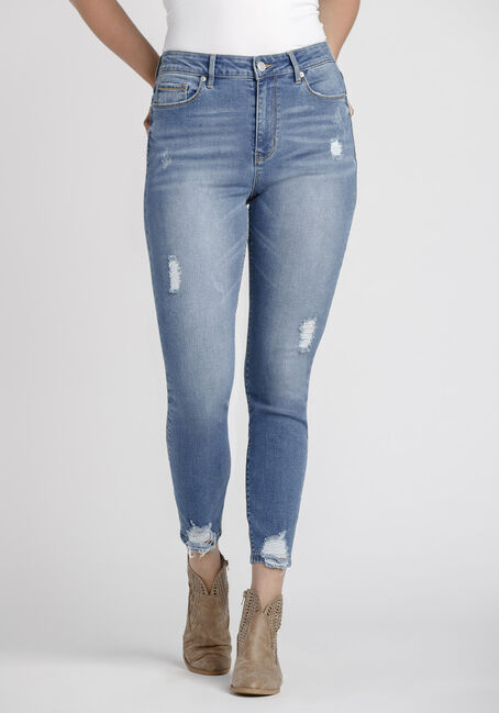 Women's Power Sculpt Chewed Hem High Rise Skinny Jeans