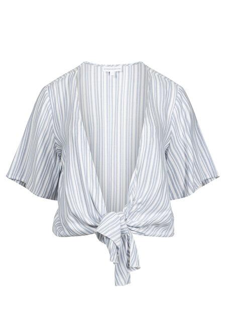 Women's Stripe Tie Front Kimono