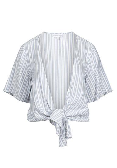 Women's Stripe Tie Front Kimono, LIGHT BLUE/WHITE, hi-res