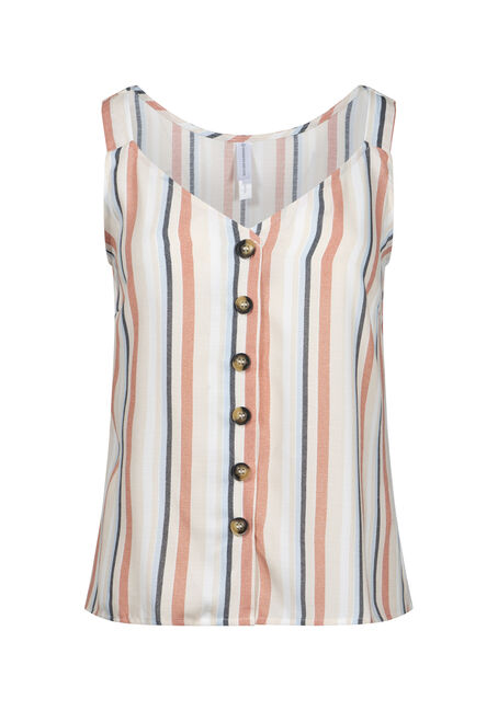 Women's Stripe Button Front Tank