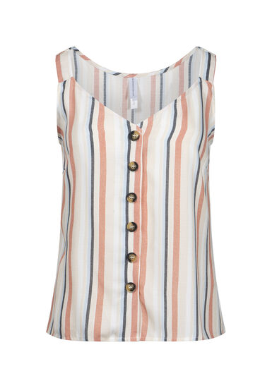 Women's Stripe Button Front Tank, IVORY, hi-res