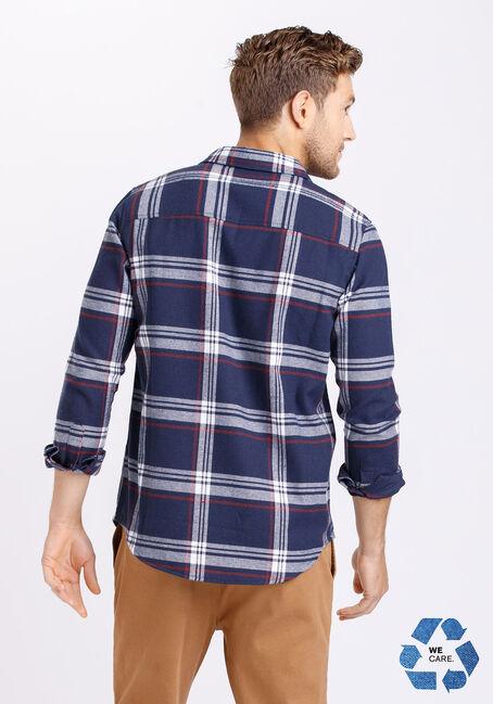 Men's Plaid Flannel Shirt, NAVY, hi-res
