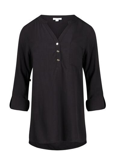 Women's Roll Sleeve Shirt, BLACK, hi-res