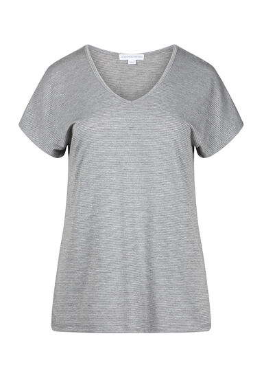 Women's Shimmer Stripe Tee, HEATHER GREY, hi-res