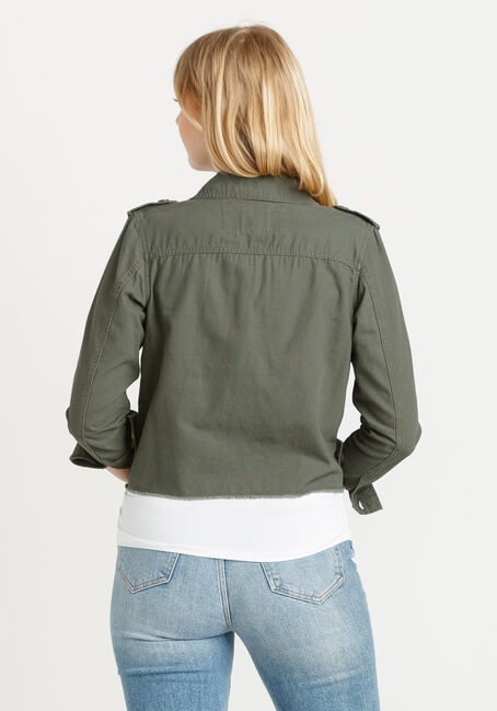 Women's Cropped Canvas Utility Jacket With Frayed Hem, DARK OLIVE, hi-res