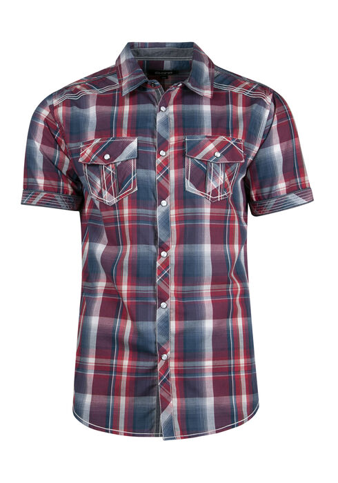 Men's Relaxed Plaid Shirt, RED, hi-res