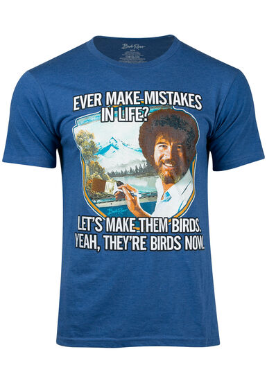 Men's Bob Ross Birds Tee, ROYAL HEATHER, hi-res