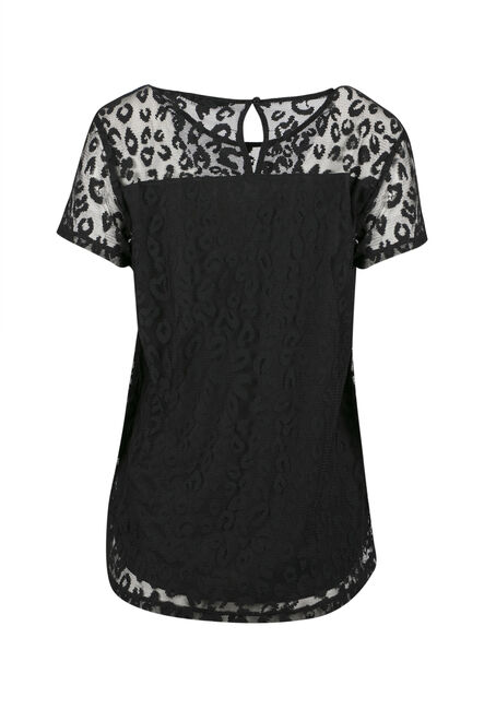 Ladies' Animal Lace Top, BLACK, hi-res