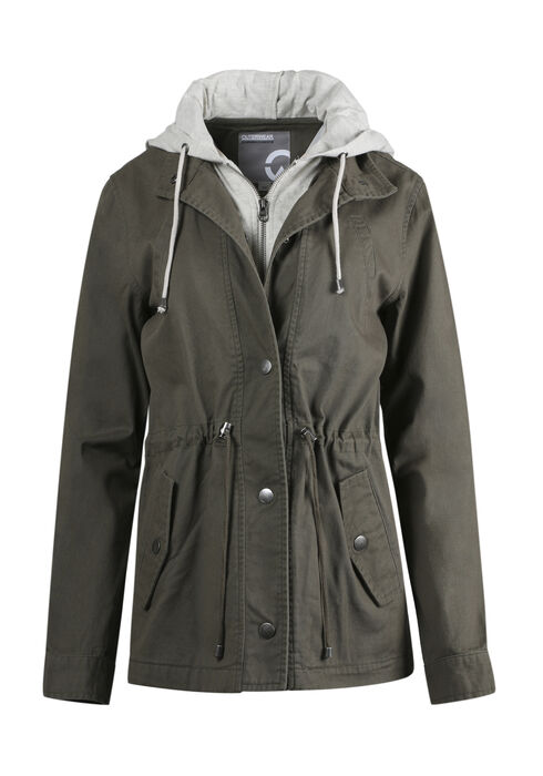 Women's Hooded Anorak Jacket, LIGHT OLIVE, hi-res