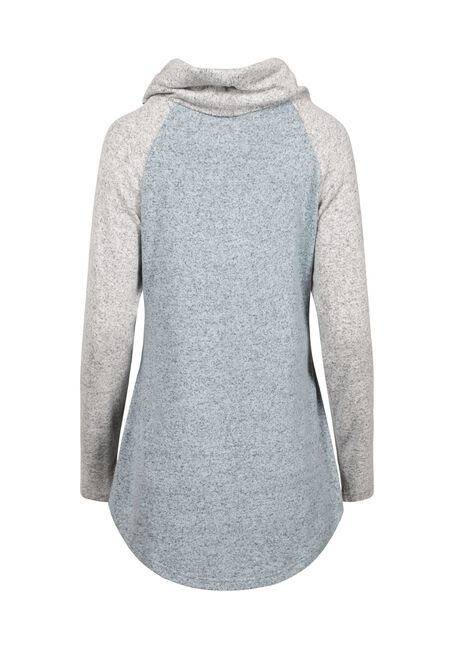Women's Cowl Neck Colour Block Top, MISTY BLUE, hi-res