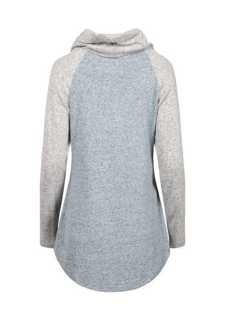 Women's Cowl Neck Colour Block Top, MISTY BLUE, hi-res