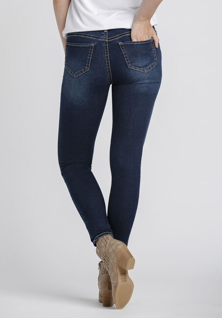 Women's Indigo Wash Skinny Jeans, DARK WASH, hi-res