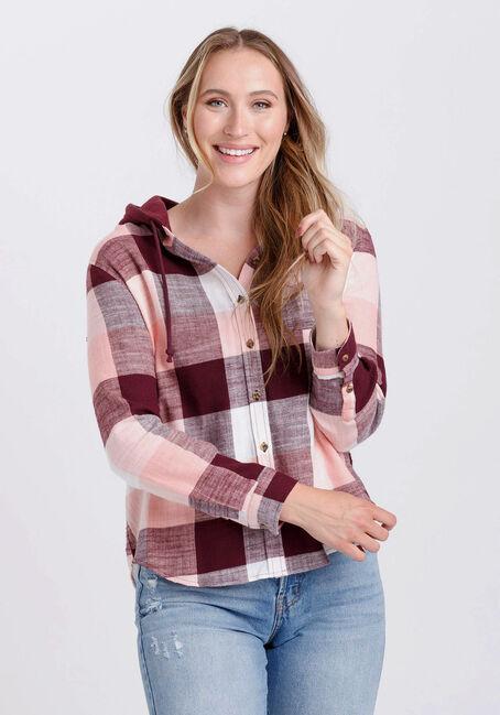 Women's Flannel Hooded Plaid Shirt