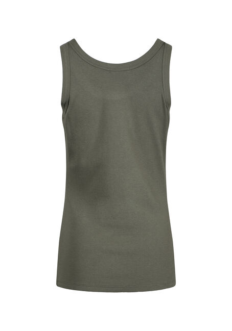Women's Rib Knit Tank Top, MOSS, hi-res