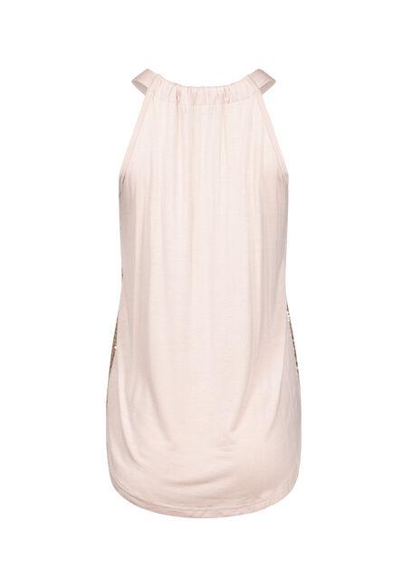 Women's Sequin Shimmer Tank, PEACH, hi-res