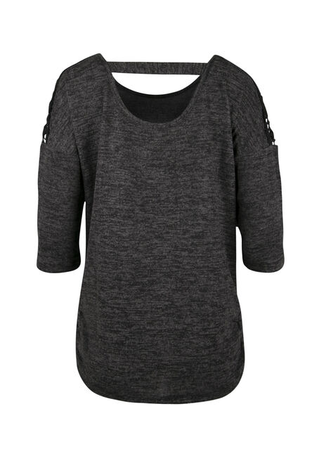 Ladies' Crochet Insert Dolman Top, BLACK, hi-res