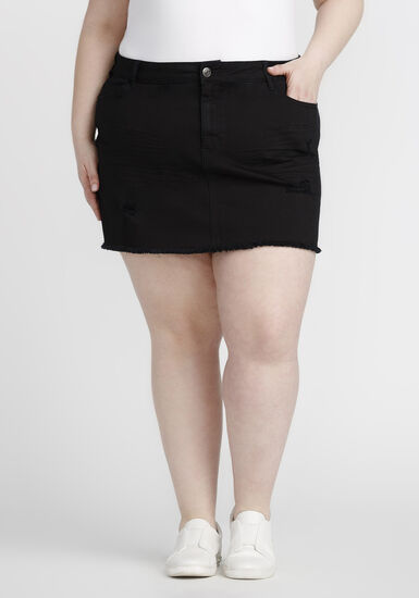 Women's Plus Size Ripped Black Denim Skirt, BLACK, hi-res