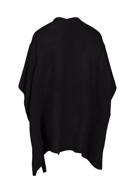 Women's Poncho, BLACK, hi-res