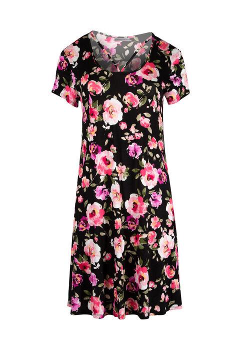 Women's Floral A-Line Dress, BLACK/PINK, hi-res