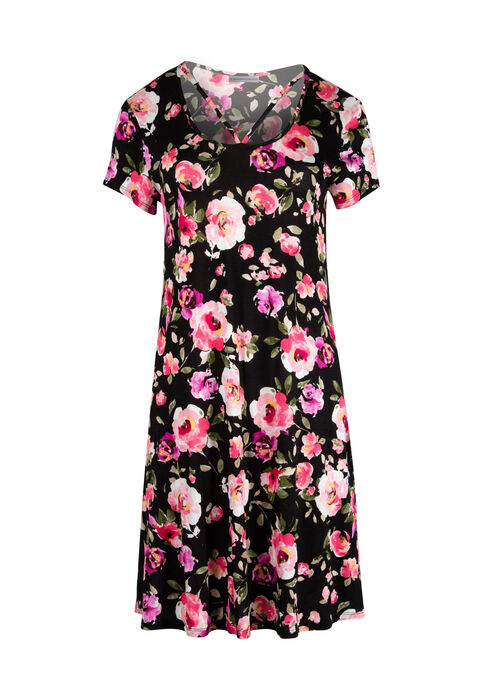 Ladies' Floral A-Line Dress, BLACK/PINK, hi-res