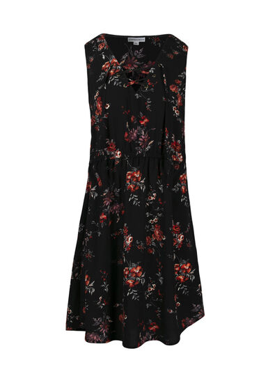 Women's Dark Florals Lace Up Dress, BLACK, hi-res