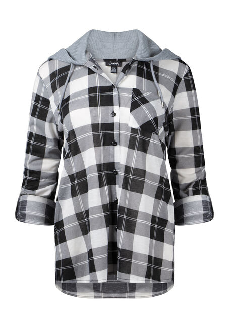 Women's Hooded Plaid Shirt